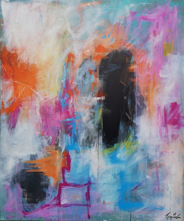 Sidder bare lige her, abstrakt maleri
