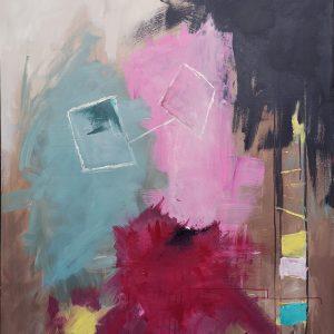 Venner - Abstrakt maleri, 100x120cm