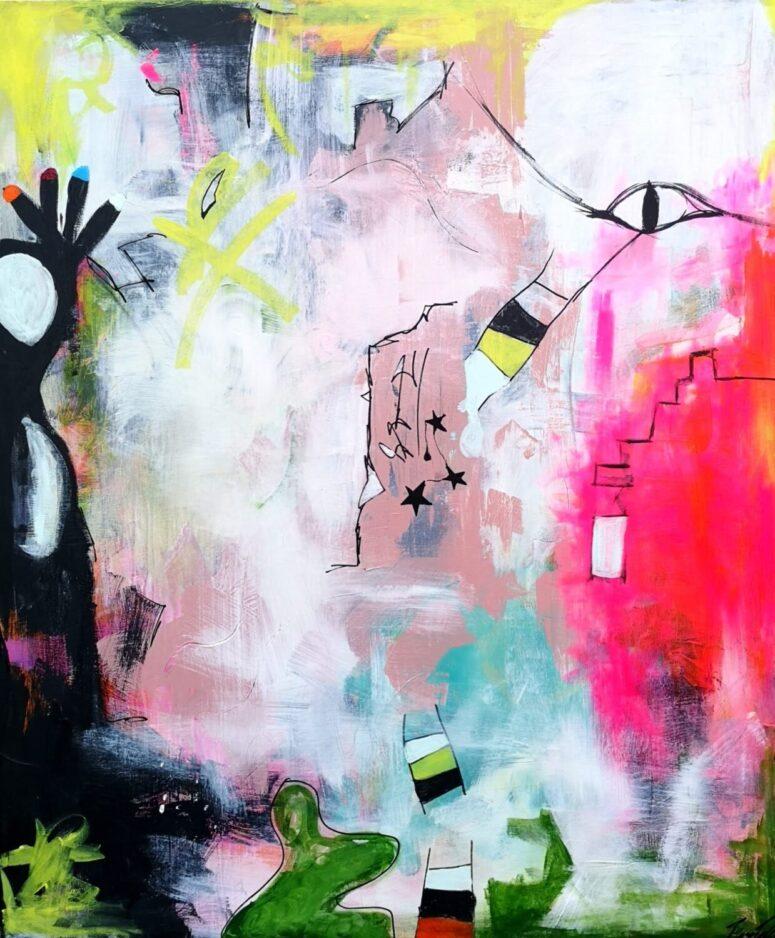 Hvor mange fingre er der her?, abstrakt maleri