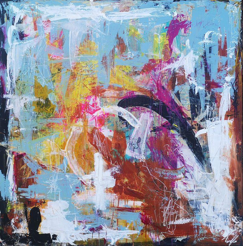 Hun kom bare lige forbi - abstrakt maleri af Thomas Jacobsen