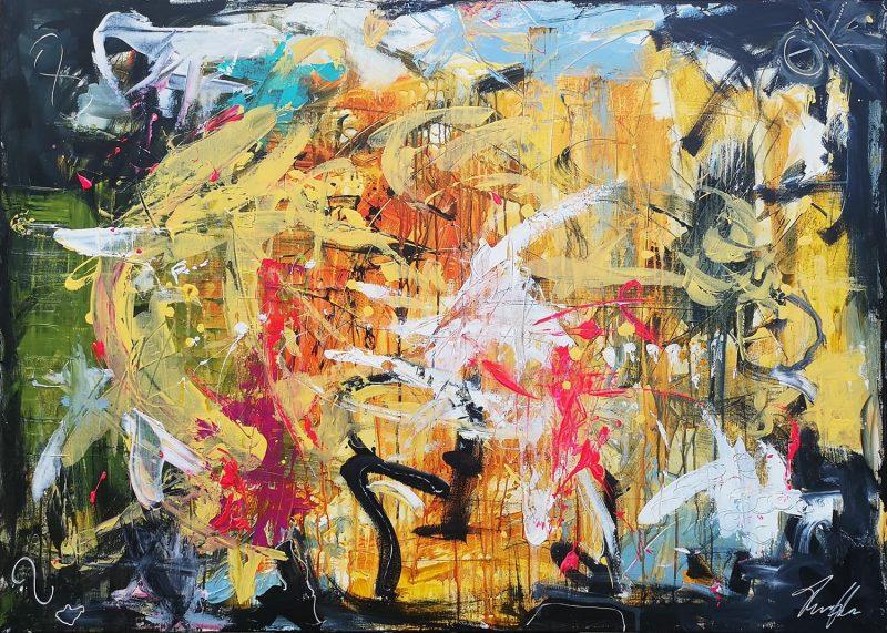 Jeg er tilbage om en time-ish, stort abstrakt maleri af Thomas Jacobsen