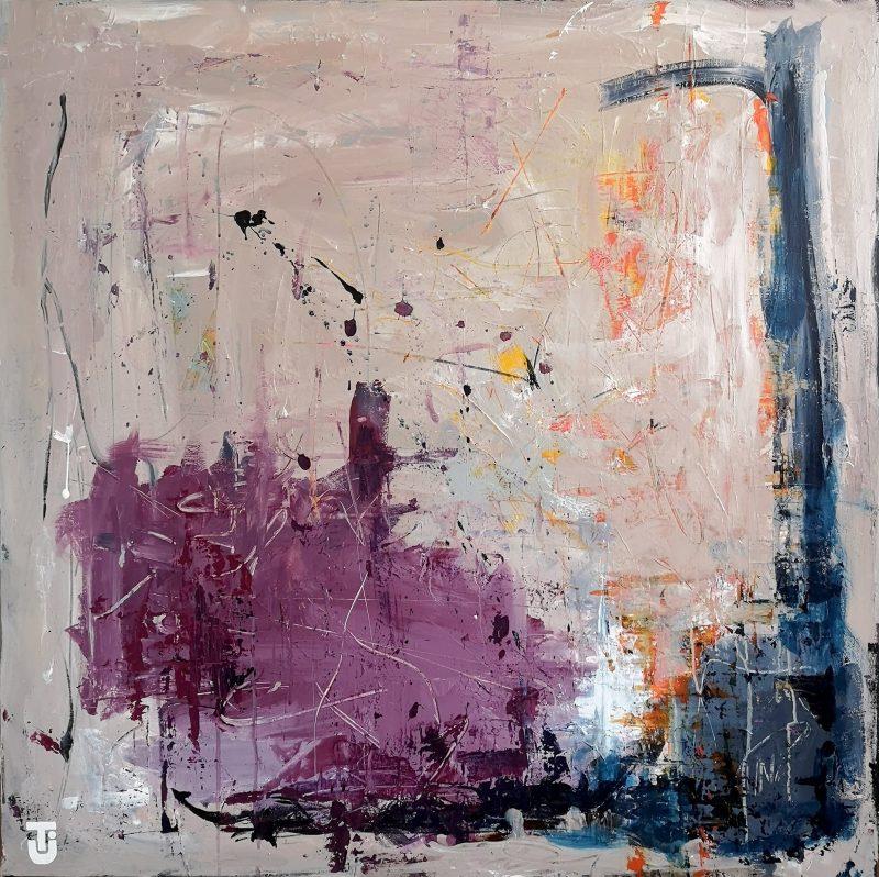 Helikopterblik og fredagsslik - abstrakt maleri 100x100 cm
