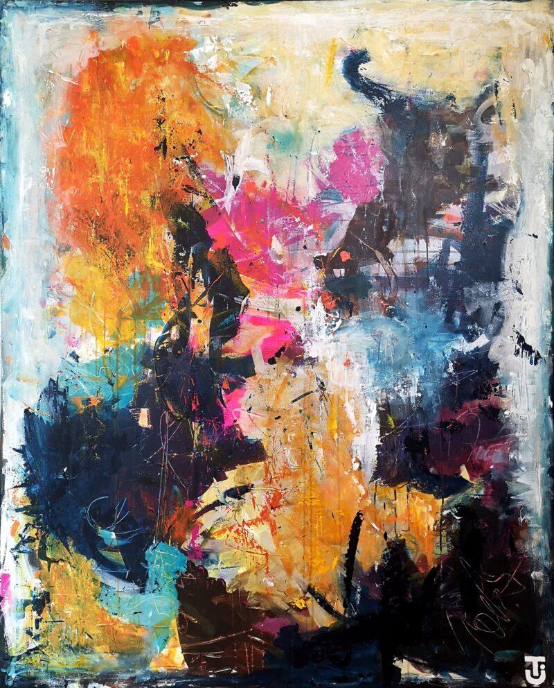 Tanker skaber følelser - abstrakt maleri 120x150 cm