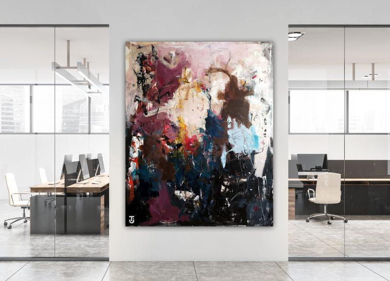 Jeg hørte lærken i dag - abstrakt maleri 120 x 150 cm