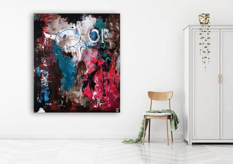 Abstrakt maleri på væg