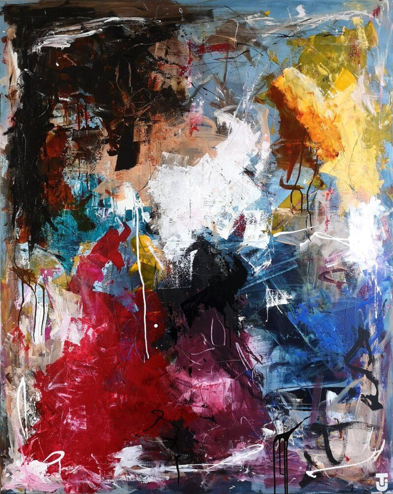 Der er kø ved bageren - abstrakt maleri 120 x 150 cm