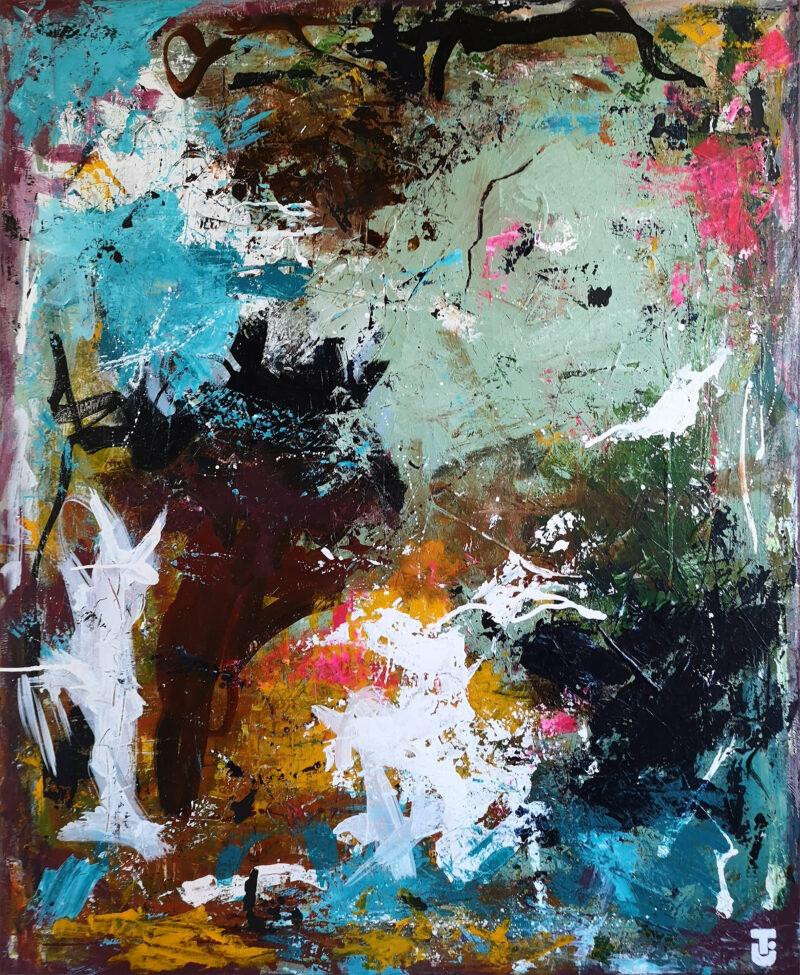 Et sted i græsset - abstrakt maleri 100x120 cm
