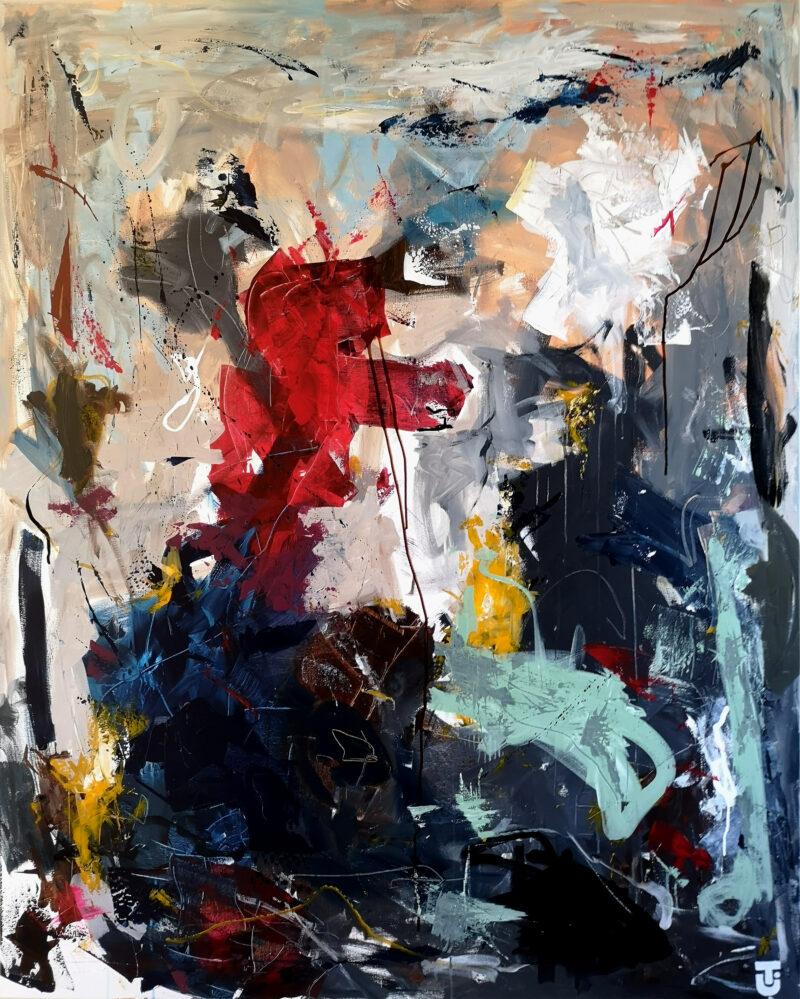 Grænser kan man ikke se - abstrakt maleri 120x150 cm