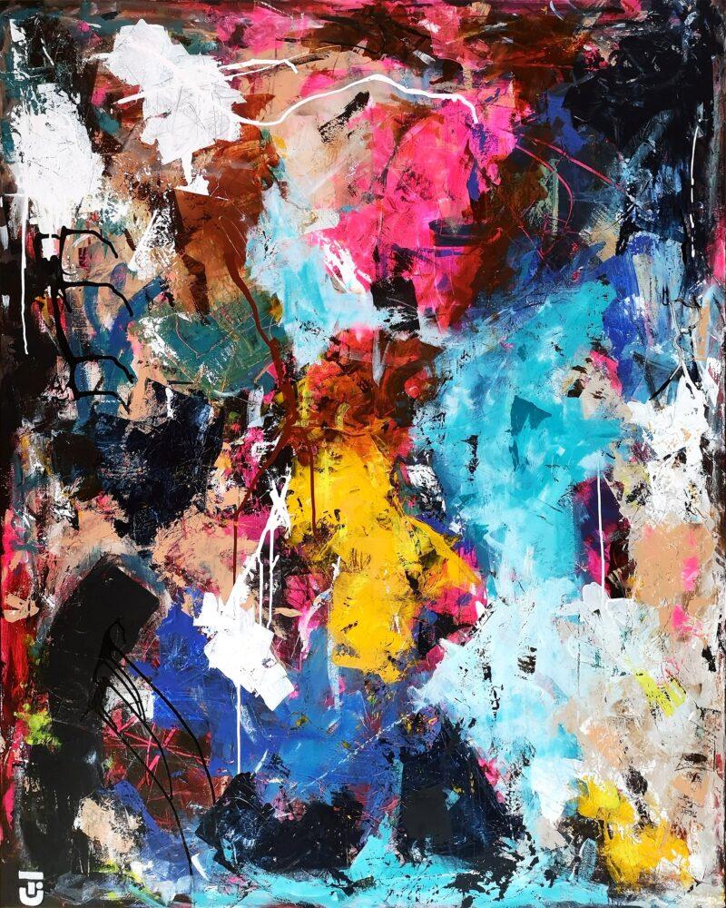 Tillykke du er uperfekt - abstrakt maleri 120x150 cm