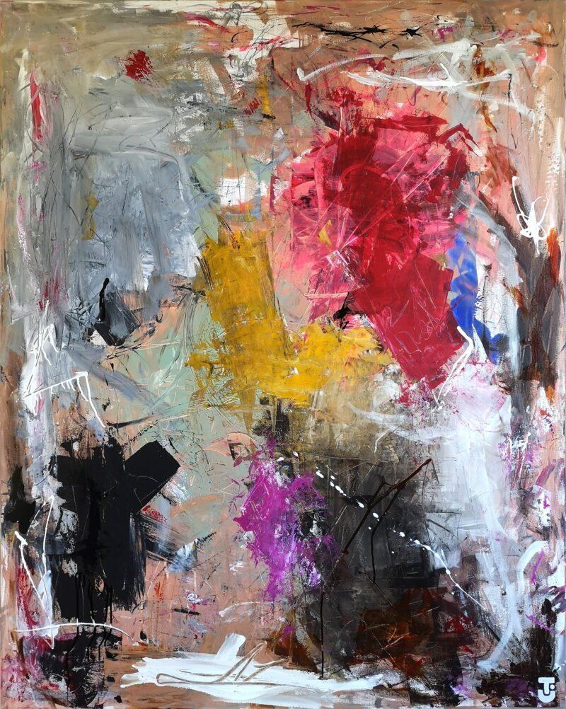 Jeg går ikke med hat - abstrakt maleri, 120x150 cm
