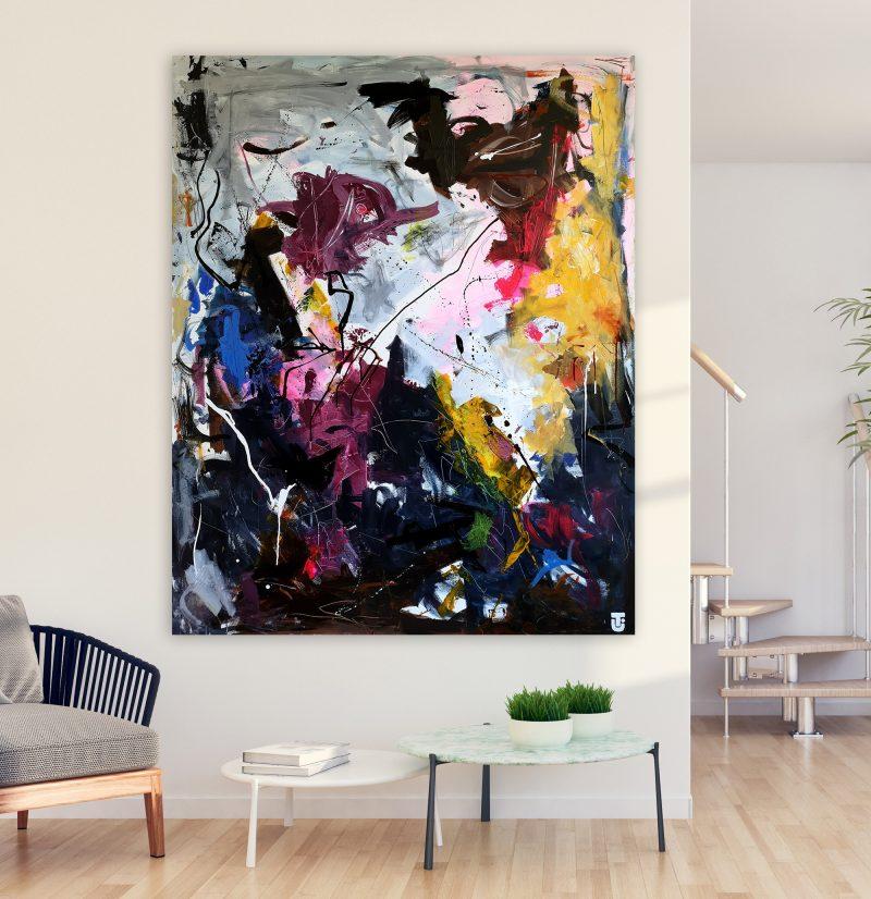 Om at lytte højere - abstrakt maleri 120x150cm