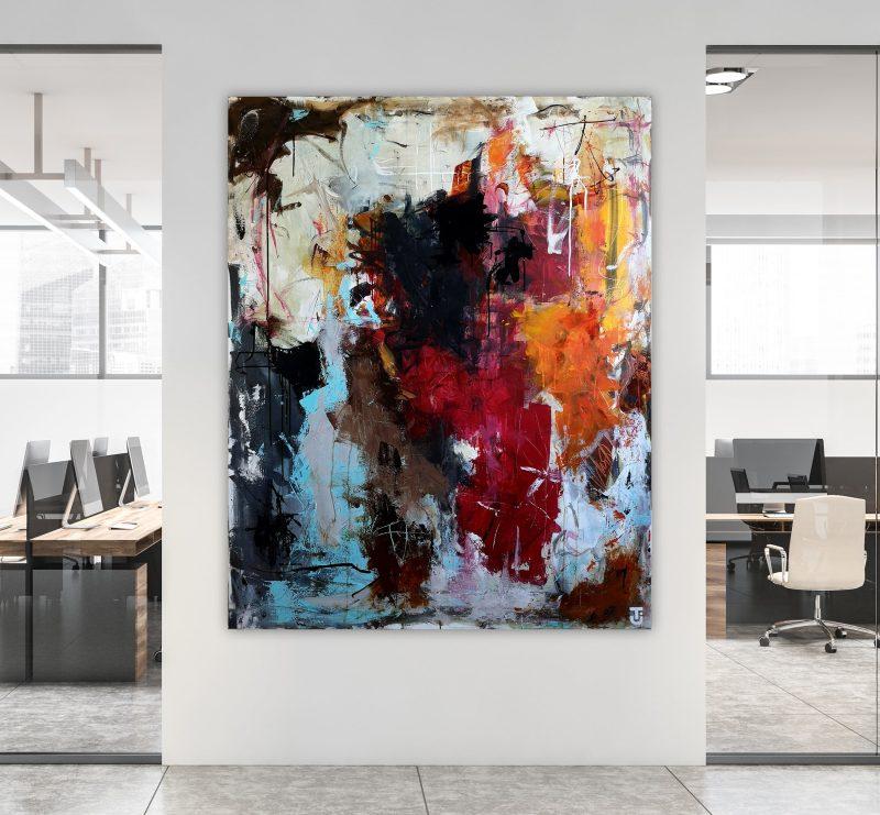 Om onsdagen danser vi i køkkenet - abstrakt maleri 120 x 150 cm