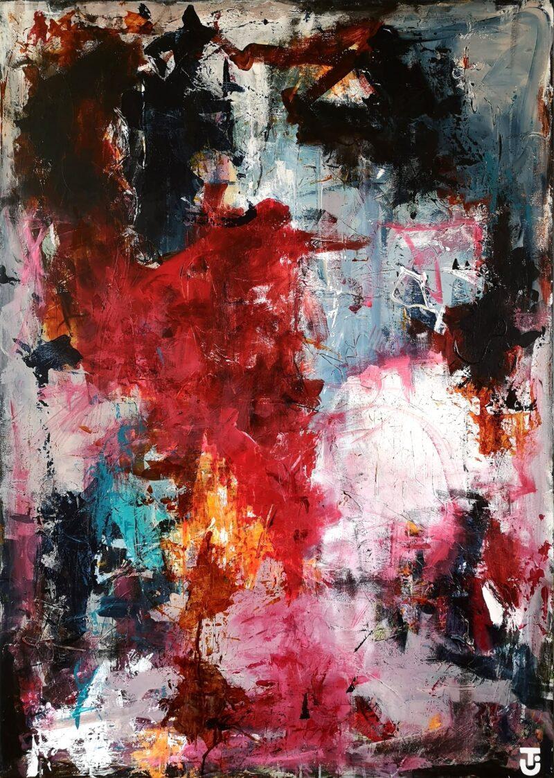 Roser er røde, gajoler er blå - abstrakte malerier 100x140cm
