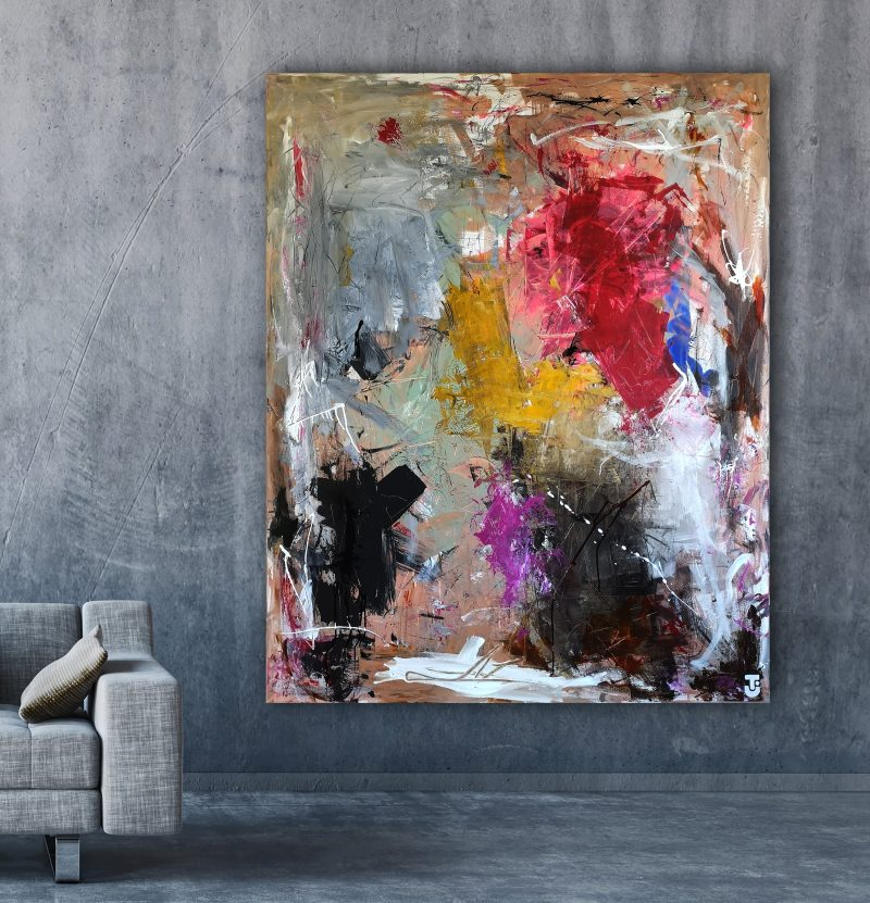 Jeg går ikke med hat - abstrakt maleri 120x150cm