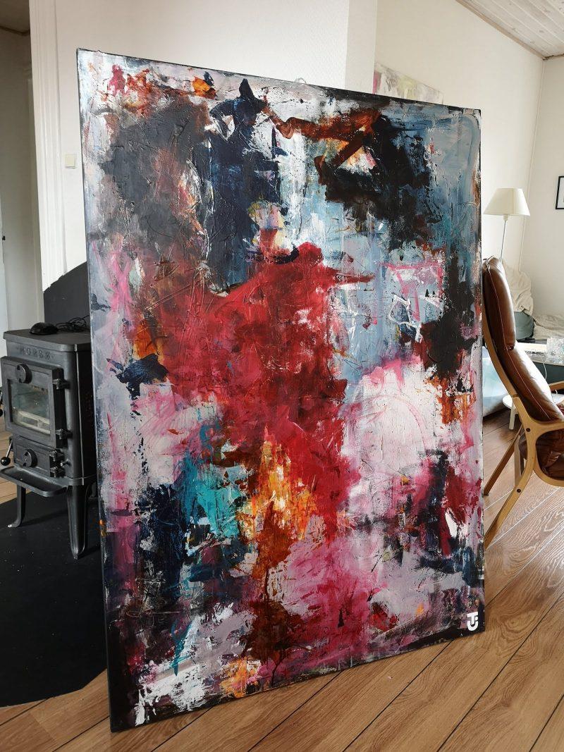 Roser er røde, gajoler er blå - abstrakt maleri 100x140 cm